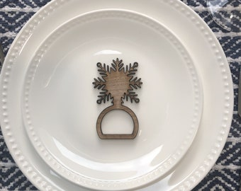 Personalized Snowflake Napkin Rings / Napkin Holders