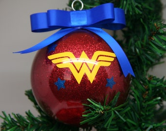 Personalized Wonder Woman Glitter Christmas Ornament
