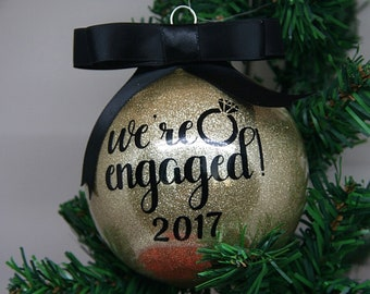 We're Engaged Personalized Glitter Christmas Ornament