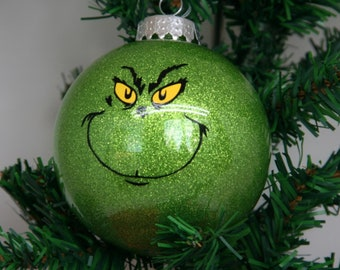 Personalized Grinch Glitter Christmas Ornament
