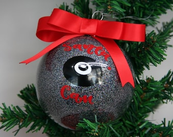Personalized Santa Cam Glitter Christmas Ornament