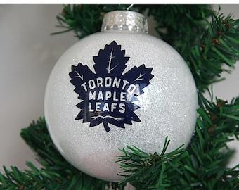 Personalized Toronto Maple Leafs Glitter Christmas Ornament
