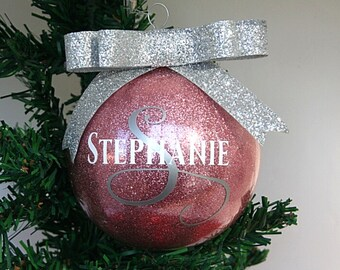Personalized Name Glitter Christmas Ornament