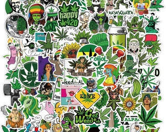 100 Unique Weed Stickers - Pot Leaf Stickers, Cool Vinyl Marijuana Decals Funny Smoke Waterproof Stickers for Adults