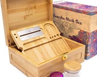 Wooden Stash Box Bundle, Rolling Tray, Jar, Grinder Rolling Kit, Rolling Tray Stash Box with Lock, Rolling Tray Bundle, Bamboo Rolling Tray