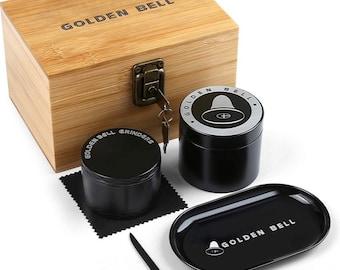 Spice Herb Grinder Storage Box Combo with 1 Storage Jar, 1 Rolling Tray, Stash Box