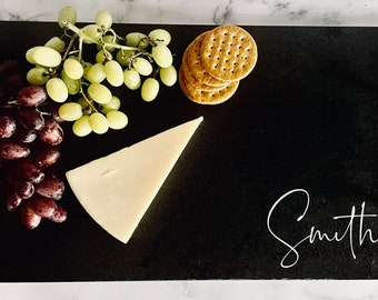 Personalized slate charcuterie board, extra large slate cheese board, slate serving tray
