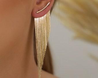 Fringe Tassel Earrings - Gold