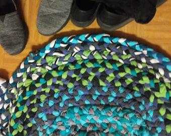 Hand-sewn blue and green rag rug