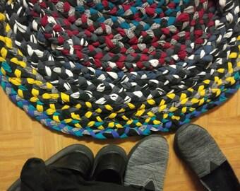 Hand-sewn multicolored rag rug