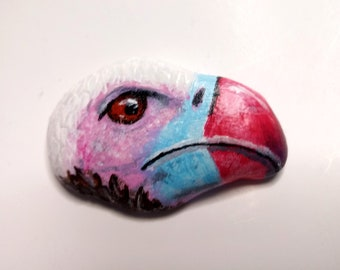 Vulture painted rock paperweight