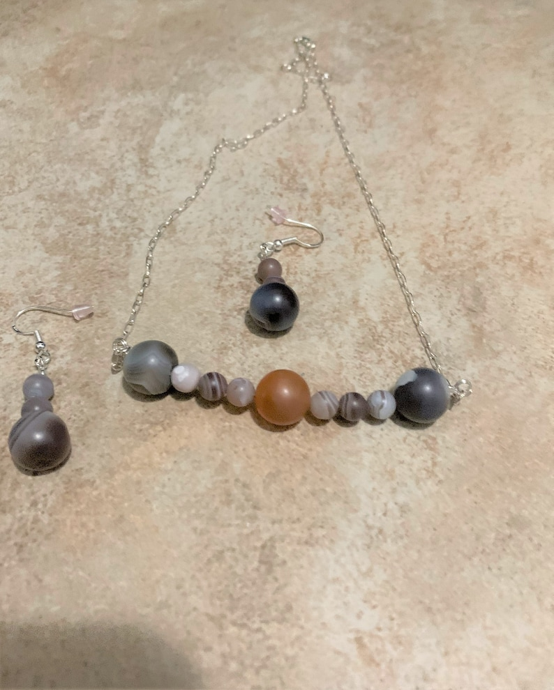 15/'/' Sterling Silver Beaded Necklace and Earring Set