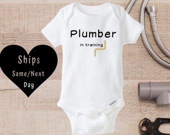 Daddy lays pipe Daddy is a plumber Plumber onesie\u00ae Funny dad gift baby gift for plumber,babyshower laying pipe Funny plumber baby gift