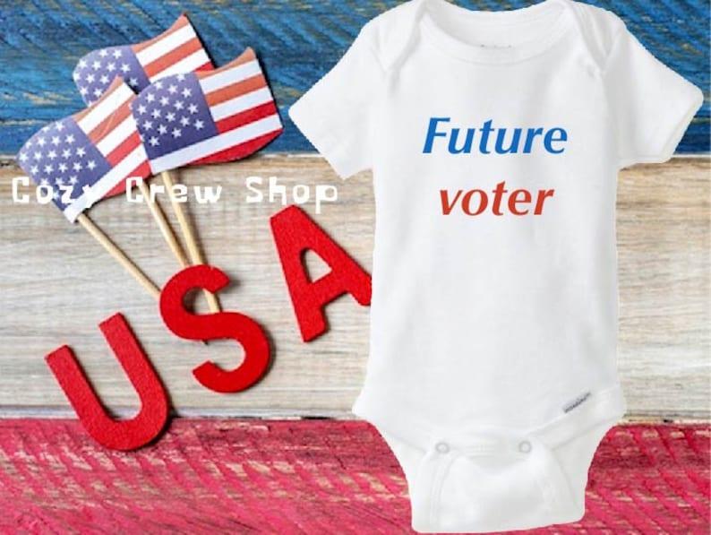 ShortLong sleeve onesie\u00ae,Election baby onesie\u00ae Future voter baby onesie\u00ae Future voter Baby shower gift USA onesie\u00ae Baby announcement