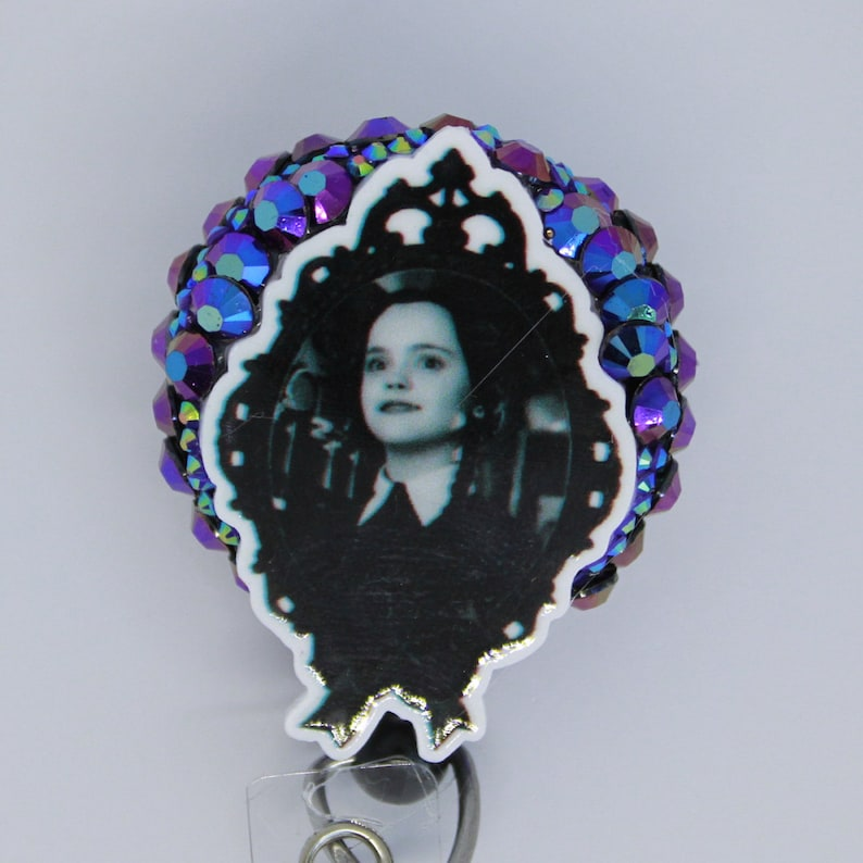 Wednesday Addams badge reel Addams Family ID holder retractable badge pull clip nurse teacher student tech Country Bear Crafting