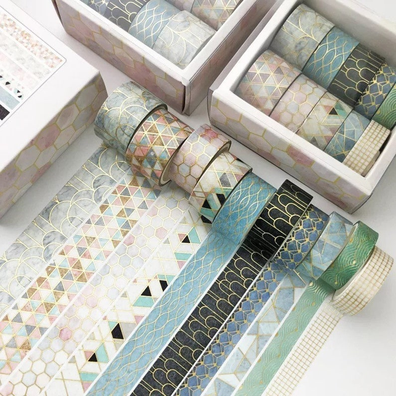 10 Rolls Gold Foil Washi Tape Set Wonderful Textures