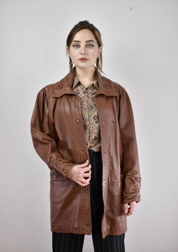 Vintage 1980s brown leather coat