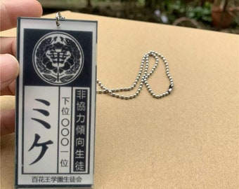 Kakegurui Housepet Tag Necklaces for Yumeko Cosplay Mike Tag Neck Chains Acrylic