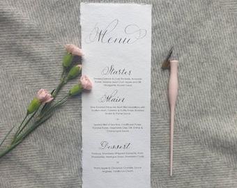 Calligraphy Wedding Menus / Minimalist menu / Wedding Menu / Personalised Menu