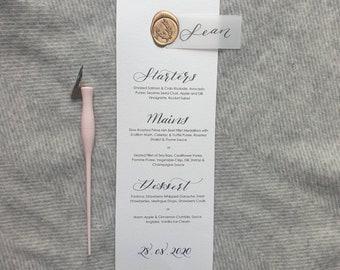 Calligraphy Wedding menu / Personalised Menu / Place Card / Bespoke Wedding Menu
