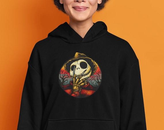 Jack Skellington Freddy Krueger Halloween Hooded Sweatshirt