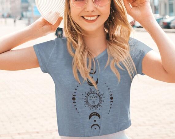 Celestial Sun and Moon Boho T-Shirt