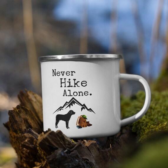 Never Hike Alone Dog Lover Camper Mug