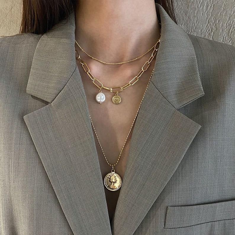 Triple chain link medallion necklace handmade