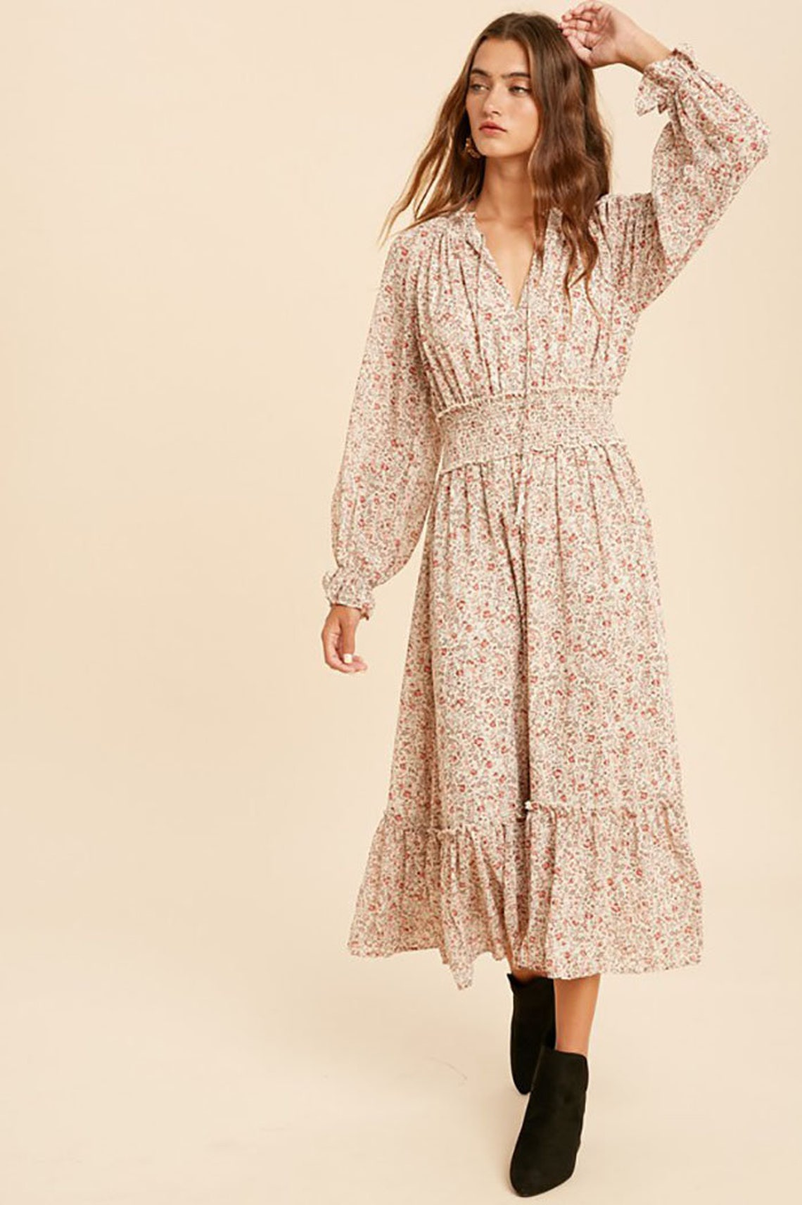 Women's Boho Bohemian Lace Floral Smocked Midi Dress