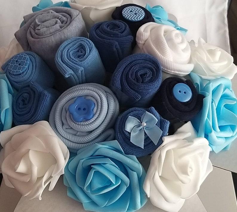 3-6M Blue White Nappy Cake Clothing Bouquet. Baby clothing. image 1