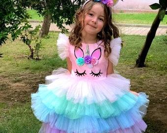 Unicorn dress for girls. Rainbow Unicorn Girls Costume. The headband is a gift.