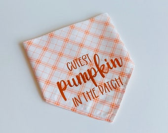 Pumpkin Bandana | Fall Bandana | Dog Bandana | Dog Scarf | Pet Bandana | Pet Scarf | Dog Gift | Cutest Pumpkin | Autumn Bandana | Snap On