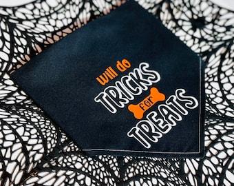 Halloween Bandana | Tricks for Treats | Dog Bandana | Dog Halloween | Trick or Treat | Black Bandana | Spooky Season | Halloween for Pets