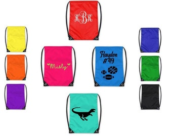 """Personalized Drawstring Bags - 13"""" wide x 16"""" high, Custom Gym, school, diaper bag, daycare, kids, adult, sports, camping, trip, children"""