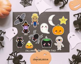 halloween mini sticker pack   laptop hydroflask water bottle decal   waterproof   mystery   ghost pumpkin cat spider bat moon star