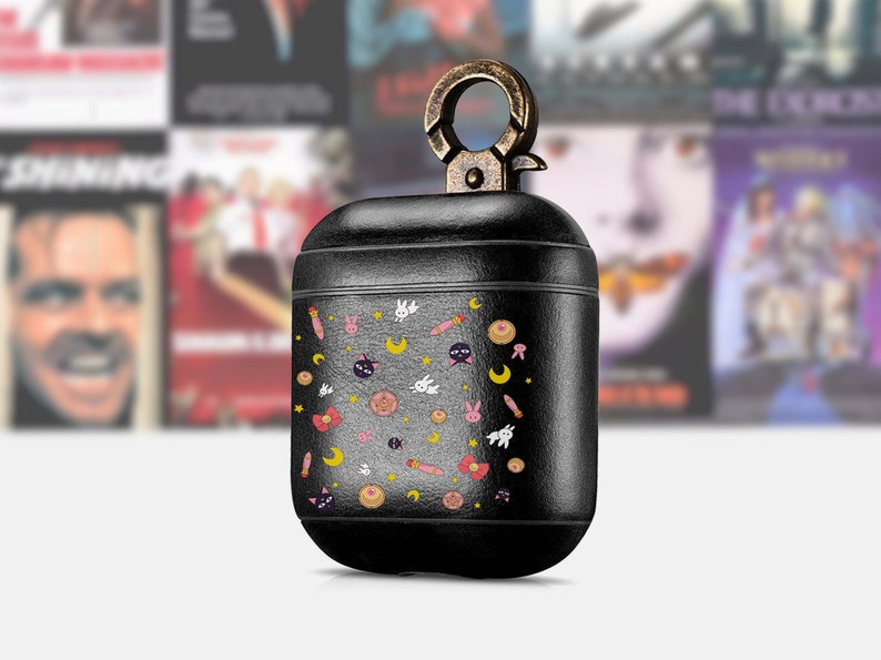 Cute AirPods Vintage Leather case AirPod Keychain case Moon Retro VHS iPhone case