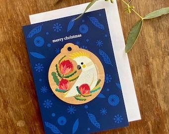 Cockatoo Christmas Decoration Card