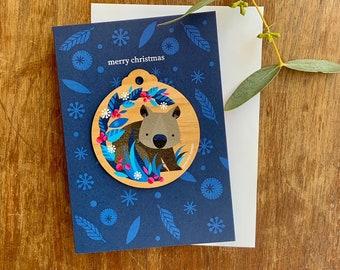 Wombat Christmas Decoration Card