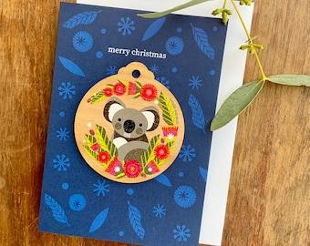 Koala Christmas Decoration Card