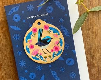 Fairy Wren Christmas Decoration Card