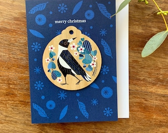 Magpie Christmas Decoration Card