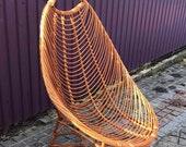 Balcony Armchair, Mid Century Modern Wicker Rattan Lounge Arm Chair, 300-lbs Weight Capacity Sunroom Patio Arm Chair, Rattan Furniture