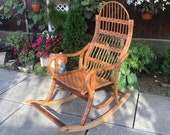 Wicker Rocking Chair, Patio Lounge Rattan Rocking Chair, Patio Furniture Wicker Rocker, Willow Rocking Chair AO1