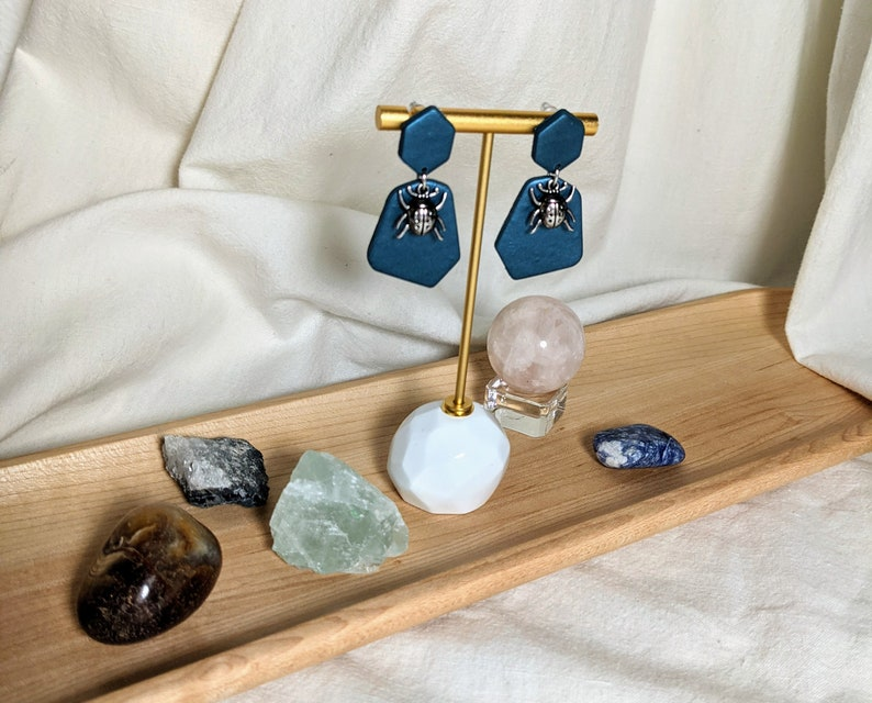 Ladybug Polymer Clay Dangle Earrings Turquoise Jewel Tone Ladybug Polymer Clay Earrings