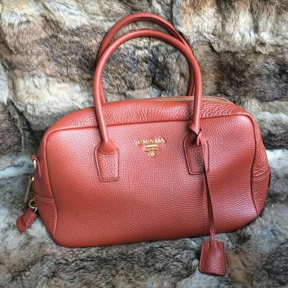 Burnt Orange Leather Prada Handbag