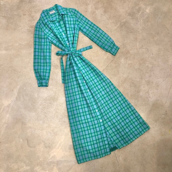 Vintage 1970s Green Button Front Point Collar Disco Dress M
