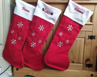 Family Christmas Stocking, Embroidered Stocking, Kids Stocking, Pet Stocking, Christmas Decoration, Christmas Keepsake,1st Christmas