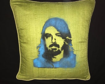 Custom HALL /& OATES Soft Brown Gold Olive Tan Ivory Velvet Striped 20x20 INDOOR Throw Pillow