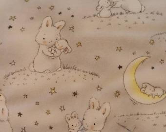 Fabric flannel, cuddly soft, rabbits, bunnies, dream fabric