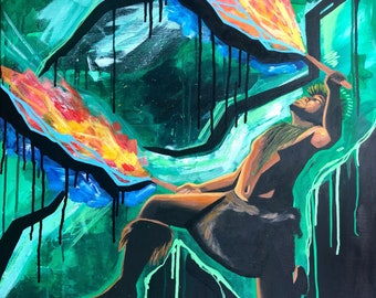 ORIGINAL Acrylic Painting titled Breathe Fire